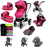 i-Safe System - Raspberry (Pink) Trio Travel System Pram & Luxury Stroller 3 in 1 Complete With Car Seat + Footmuff + Carseat Footmuff + RainCovers
