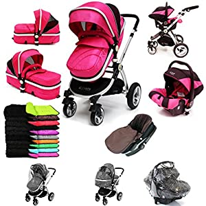 i-Safe System - Raspberry (Pink) Trio Travel System Pram & Luxury Stroller 3 in 1 Complete With Car Seat + Footmuff + Carseat Footmuff + RainCovers   5