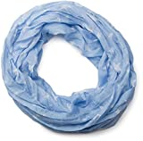 styleBREAKER seidiger Sterne Muster Loop Schlauchschal, Crash and Crinkle, Unisex 01016093, Farbe:Hellblau-Weiß
