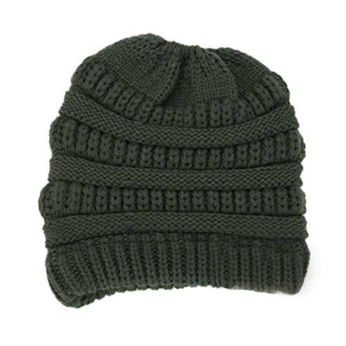 LCLrute Frauen Baggy Warm Crochet Winter Wolle stricken Ski Beanie Schädel Slouchy Caps Schachtelhalm Hut (Armee Grün) (Stricken Magie Handschuhe)