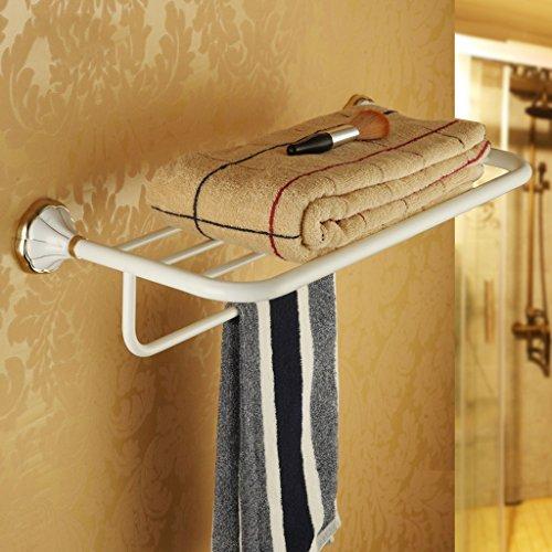 PIGE Europäische Stil Handtuchhalter Badezimmer Badezimmer Hardware Anhänger Set Geröstete weiße Farbe Gold-Plated Handtuch Rack Badezimmer Regal