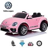 BC BABY COCHES Coche eléctrico para niños - Volkswagen Beetle Dune Coche con Batería 12v, Mando para Padres, Ruedas EVA, Asiento Polipiel (Rosa)