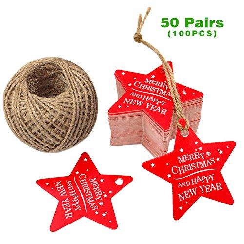 en Geschenk Anhänger, 50 Paare Etiketten Tags, 6 CM* 6 CM Hängeetiketten mit 30 Meter Jute-Schnur für Weihnachtsgeschenke, Handwerk etc - Sternförmig (Weihnachts-etiketten)