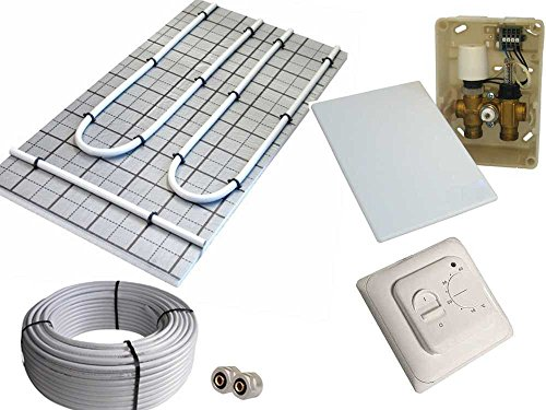 Tackerplatte Fußbodenheizung Warmwasser, Sani-TAC Komplett 5m² / 10m² mit Verbundrohr und RTL elektronische Regelbox mit Komfort-Thermostat EnEV 2014, Fläche:5 qm