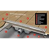Anapont Écoulement de douche Becs Verseurs, 1100mm, avec grille, Construction Profondeur seulement 55mm,