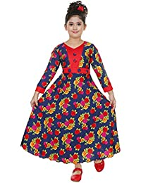 Girls Maxi/Full Length Casual & Party Dress(Red)