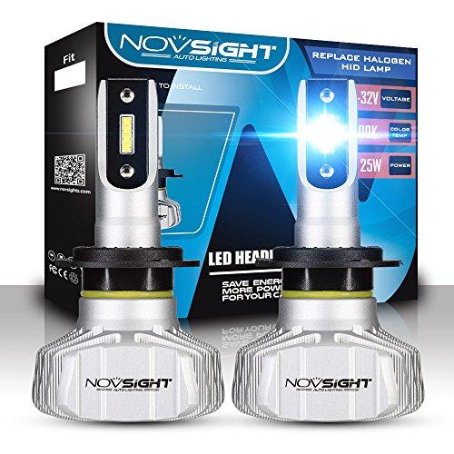 NOVSIGHT Lampadine H7 LED 10000LM, Kit Lampadine Auto Luci LED Auto Sostituzione per Lampadine Alogene Xeno Anabbaglianti Impermeabile Certificato DOT 6500K Bianco 2 Pack