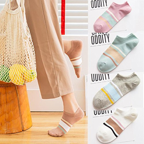 Wawer Women Ankle Socks, Stripe Cotton Low Cut Ankle Socks Casual Work Business Comfortable Skateboard Short Ankle Sock