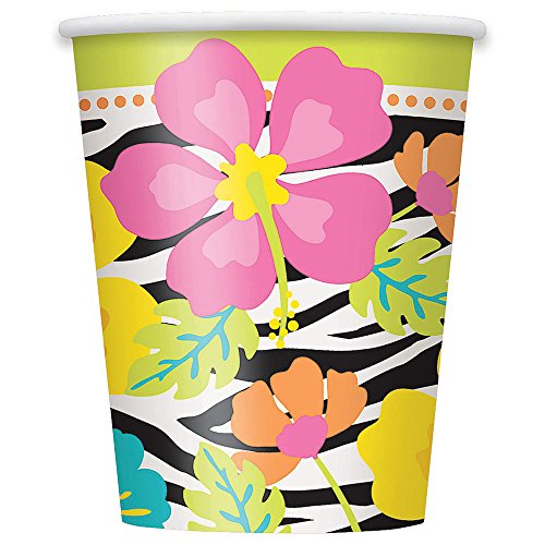 Partido-nico-9-oz-salvajes-Luau-Paper-Cups-paquete-de-8