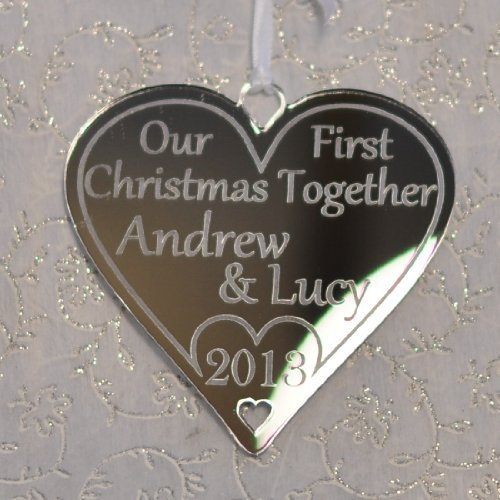 Our First Christmas Together Personalised Heart Silver Mirror Tree ...