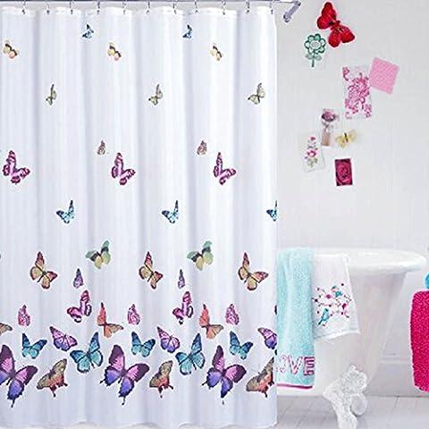 Sannix Papillons Imprimé de bain Rideau imperméable à l'eau/la moisissure Rideau de douche en tissu Multi Couleur (70wx70l pouce)