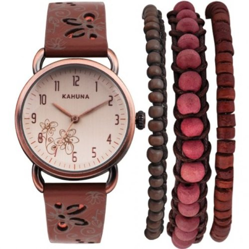Kahuna Women's Quartz Watch with Beige Dial Analogue Display and Brown Leather Strap AKLS-0250L Best Price and Cheapest
