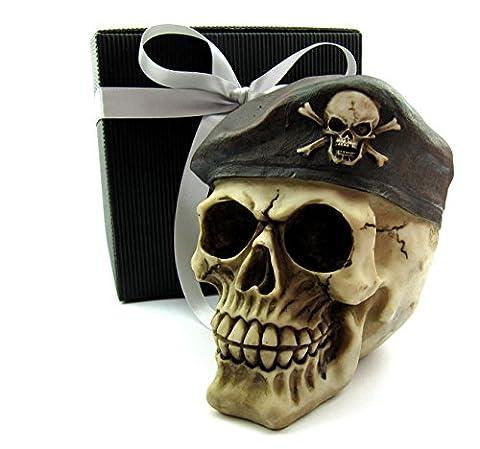 Deko Totenkopf, Toten-Schädel, Skull, mit Barrett im Geschenk-Set, in eleganter schwarzer Geschenk-Box mit Schleifenband, Geschenk für Frauen, Männer, Gothic, Mystik, Fantasy, Dekoration, Party-Geschenk, Halloween