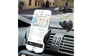 Rwest X Handyhalterung Auto Smartphone Halterung KFZ Handy Halter für Auto KFZ Handy Halterung für iPhone,Samsung,HTC,LG,Huawei und jedes andere Smartphone oder GPS-Gerät, Mit Zwei Klammen Zubehör.
