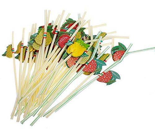 100X Toruiwa Trinkhalme Kunststoff Einweg Strohhalme mit Bunte Frucht Halme Cocktail Hochzeit Party Barzubehör Zufällige Farbe