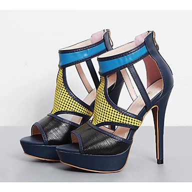FSCHOOLY Scarpe Donna Pu Primavera Cadono Comfort Sandali Stiletto Heel Per Casual Blu Scuro Blu scuro