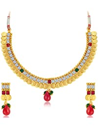 Sukkhi Glorious Gold Plated Temple Jewellery Necklace Set For Women