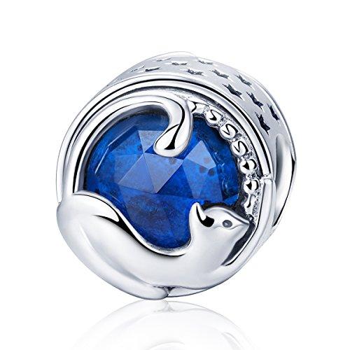 Dxlts 925 Sterling Silber Inlay Glas Charm Bead Süße Katze Anhänger Passgenau European Charms Perlen Armbänder Halskette Gute Verarbeitung Geburtstag Jahrestag Valentine Hochzeit Geschenk -