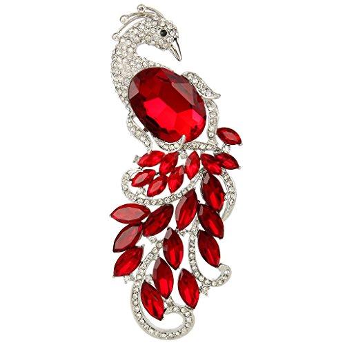 Ever Faith Austriaco di cristallo elegante del pavone animale silver-tone Ciondolo Spilla Red