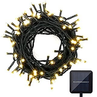 Almondcy 100 LED Solar String Lights 39FT Waterproof Warm White Christmas Lights for Indoor and Outdoor Decoration, Garden, Patio, Lawn, Wedding, Party, Christmas Lights and Halloween Lights