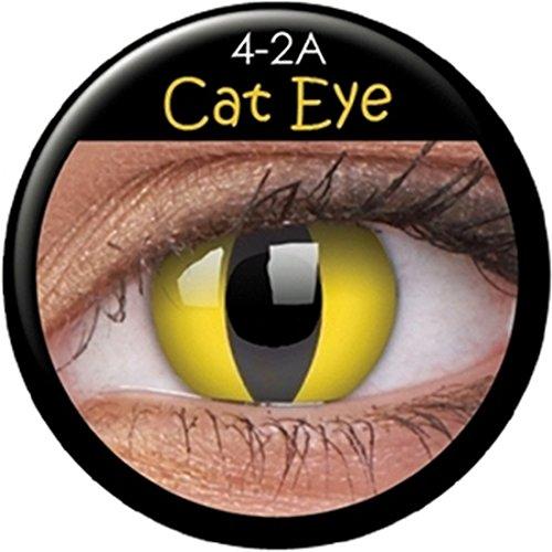 NET TOYS Katzen Kontaktlinsen Grüne Farblinsen Schlitzaugen Motivlinsen Augenlinsen Katzenauge Effektlinsen
