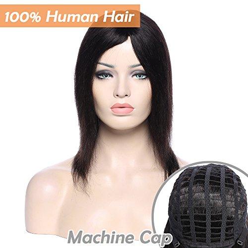 Parrucca con capelli umani, per donne di colore, capelli brasiliani, lisci #1b, nero naturale