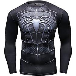 Cody Lundin Hombre de Aptitud de Apretado Culturismo Hombres Manga Larga Camiseta Slim Deporte al Aire Libre t-Shirt (XXL, Spider-d)