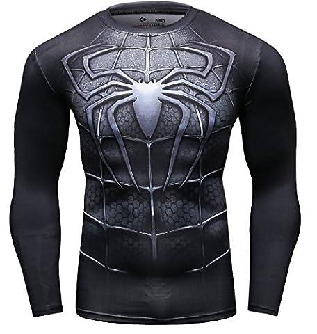 Cody Lundin Homme Spider Héros T-shirt Collant Manches Longues, Sport Fitness Shirt (XL, Noir)