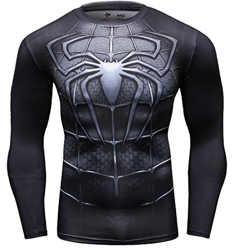 Cody Lundin Männer Superhelden Serie Party Shirt Männlich Motion Joging Party im Freien Stil Sport Long Sleeve (Spider D, L)