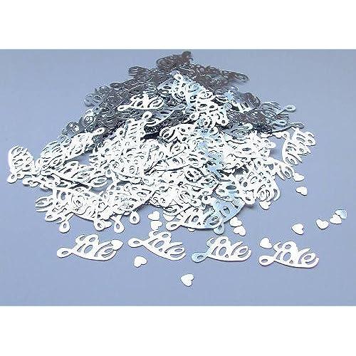 Silver wedding decorations amazon silver love wedding confetti table decoration junglespirit Choice Image