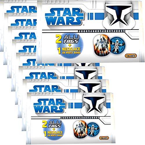 9 Stück Wundertüte Star Wars Clone Wars Halskette Armband Alu Tag Plaketten ()