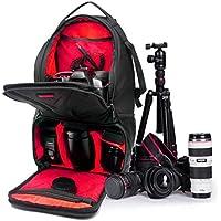 QHGstore Caso Laptop Bag zaino impermeabile DSLR per Canon EOS Nikon nero + rosso