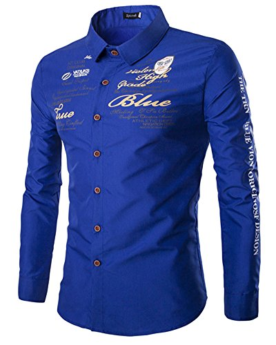 Homme Chemise Slim Fit Manches Longues Col Chemise Shirt Tops Saphir