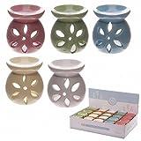 Brucia Essenza olio in Ceramica colorata con Petali Intagliati da 7 cm