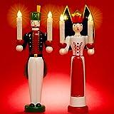 SIKORA EB-A-LED Engel und Bergmann aus Holz - Serie A - im 2er Set mit LED Kerzen und Fernbedienung