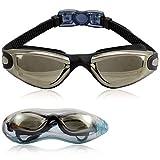 TECHMAX Occhialini da nuoto, lenti trasparenti anti appannamento, occhiali da nuoto a tenuta stagna misura comoda per adulti, bambini 10 + - Nero