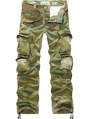 Menschwear Herren Cargo Hosen Freizeit Multi-Taschen Military pantaloni Ripstop Cargo da uomo (40,Grün) (Us Herren Assn Slim Jean Polo)