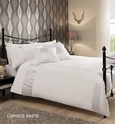 CAPRICE WHITE Duvet Quilt Cover with Pillowcase Bedding Set - DOUBLE, KING & SUPER KING - cheap UK light shop.