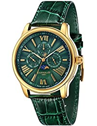 amazon co uk green wrist watches men watches thomas earnshaw longitude men s quartz watch green dial analogue display green leather strap es 0025