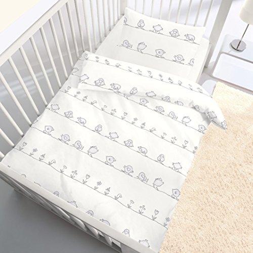 VOGEL Baby Kinder Bettwäsche für Jungen & Mädchen » LITTLE BIRD « Spatz & Blumen in Beige , Grau - 2 teilig Kissenbezug 40x60 + Bettbezug 100x135 cm - hergestellt in Deutschland - 100 % Baumwolle