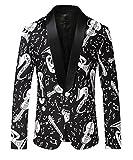 Herren Schwarz Blazer Jacke Slim Fit Print Stilvolle Mantel DE 48 (Asian 3XL)