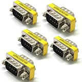 5 x Gender Changer 9 pol Stecker Seriell Adapter RS232 Male 9-pol Com D-Sub DB9