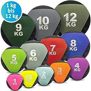 Medizinball farbig – Gummimedizinball in 1 kg, 1,5kg, 2kg, 3kg, 4kg, 5kg, 6kg, 7kg, 8kg, 9kg, 10kg, 12kg Gewichtsball Krafttraining, Crossfit, Bodybuilding, Slamball, Wallball, Reha und Fitness