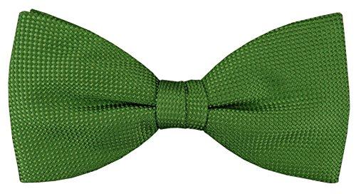 TigerTie Fliege in grün einfarbige Punktstruktur - Fliege 100% pure Seide -