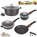 Kamberg - 0008166 - Set Lot Batterie de cuisine 10 pièces - Fonte d'aluminium - Revêtement pierre...