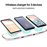 #8: Leoie 3 in 1 Fast Smart Wireless Charger Wireless Charging Pad Stand with 2 USB Ports for Most Smart Phone