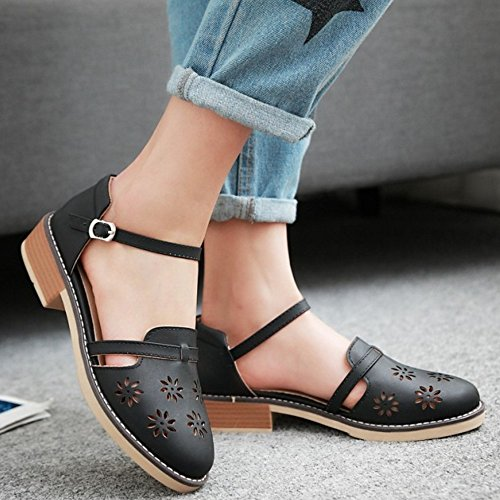 TAOFFEN Femmes Sandales Confortable Cut-out Sangle De Cheville Talons Moyen Chaussures Noir