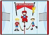 10 Einladungskarten Einladung Eishockey Hockey Ice-Hockey für Jungen und Mädchen