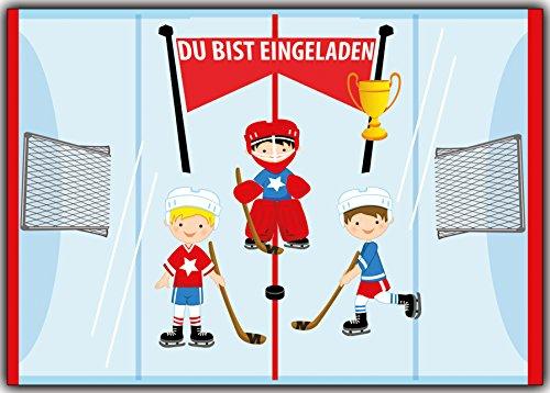 Einladung Eishockey Hockey Ice-Hockey für Jungen und Mädchen (Halloween-party-abenteuer Zeit)