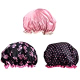 TUPARKA 3 Packs Shower Caps Waterproof Bath Caps Double Layer Shower Hat for Girls and Women
